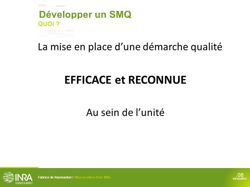 .08 La mise en place dune démarche qualité EFFICACE et RECONNUE Au sein de lunité Fabrice de Raemaeker / Mise en place dun SMQ 10/12/2013 Développer u