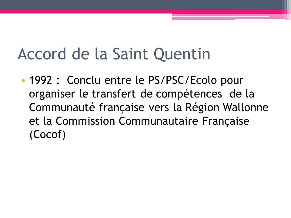 Accord de la Saint Quentin 1992 : Conclu entre le PS/PSC/Ecolo pour organiser le transfert de compétences de la Communauté française vers la Région Wa