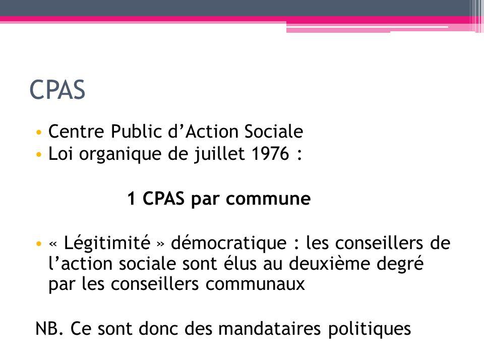CPAS Centre Public dAction Sociale Loi organique de juillet 1976 : 1 CPAS par commune « Légitimité » démocratique : les conseillers de laction sociale