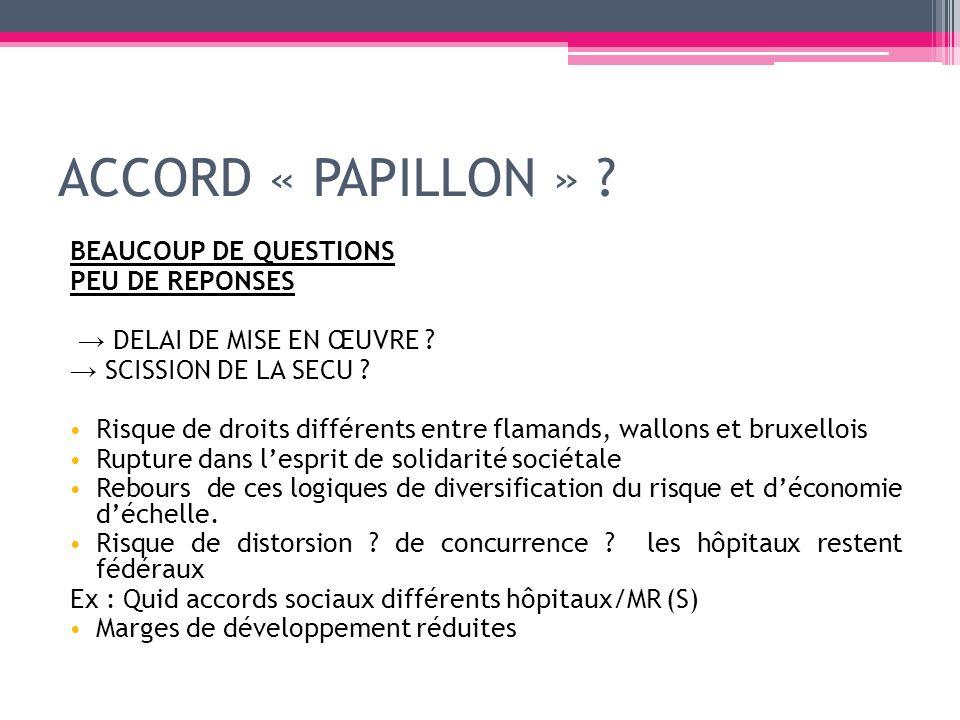 ACCORD « PAPILLON » ? BEAUCOUP DE QUESTIONS PEU DE REPONSES DELAI DE MISE EN ŒUVRE ? SCISSION DE LA SECU ? Risque de droits différents entre flamands,