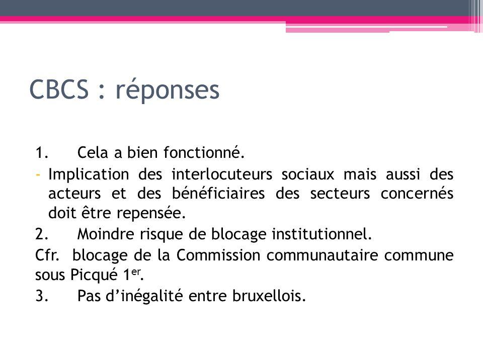 CBCS : réponses 1.Cela a bien fonctionné. -Implication des interlocuteurs sociaux mais aussi des acteurs et des bénéficiaires des secteurs concernés d