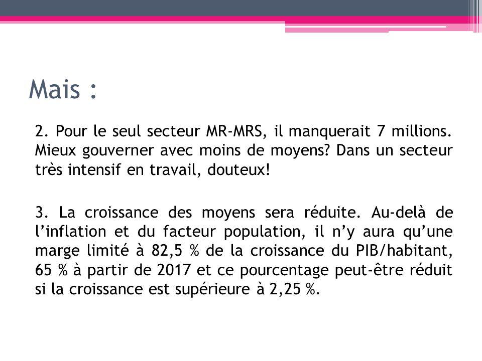 Mais : 2. Pour le seul secteur MR-MRS, il manquerait 7 millions. Mieux gouverner avec moins de moyens? Dans un secteur très intensif en travail, doute