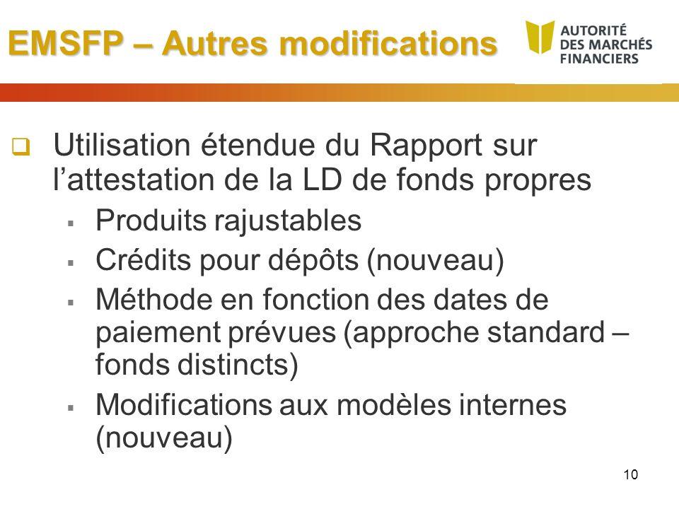 10 EMSFP – Autres modifications Utilisation étendue du Rapport sur lattestation de la LD de fonds propres Produits rajustables Crédits pour dépôts (no