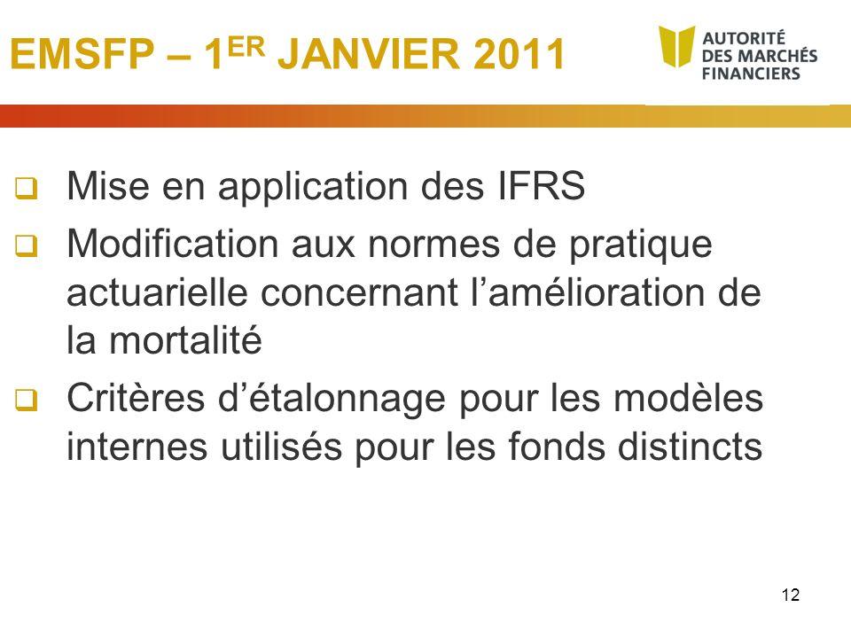 12 EMSFP – 1 ER JANVIER 2011 Mise en application des IFRS Modification aux normes de pratique actuarielle concernant lamélioration de la mortalité Cri