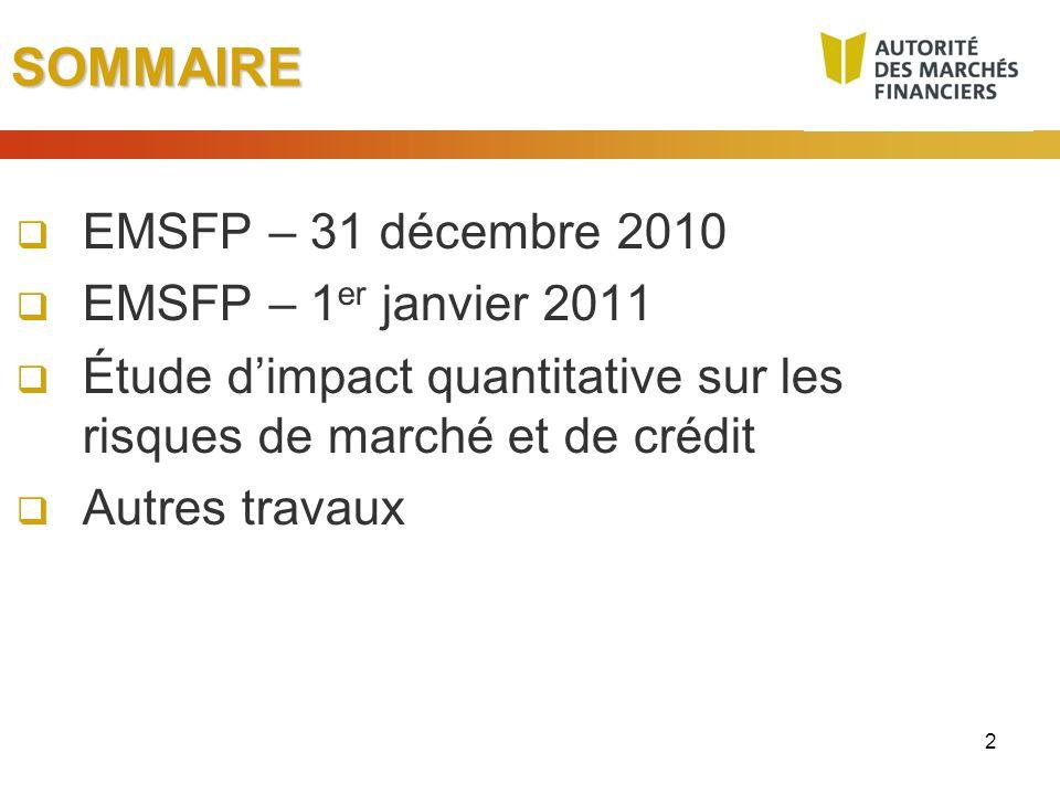2SOMMAIRE EMSFP – 31 décembre 2010 EMSFP – 1 er janvier 2011 Étude dimpact quantitative sur les risques de marché et de crédit Autres travaux