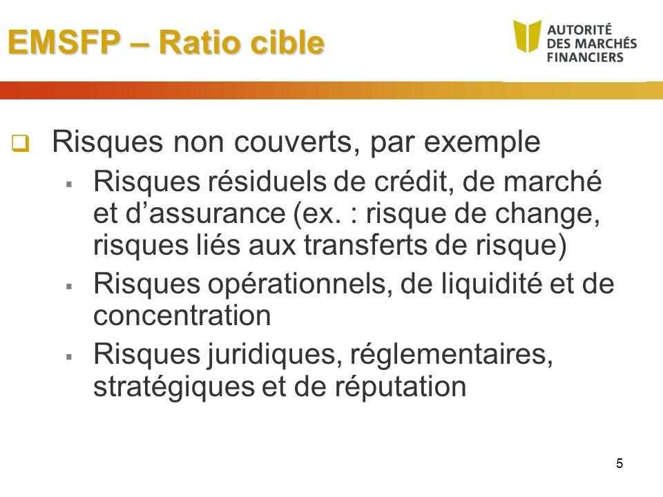 6 EMSFP – Ratio cible Coussin opérationnel, pour tenir compte Caractère variable du ratio EMSFP dans le cadre des activités courantes Possibilité dune chute du ratio EMSFP sous le ratio cible Limitations liées à laccès au capital