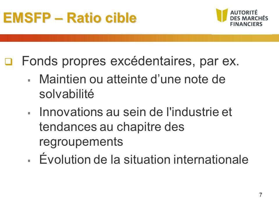 7 EMSFP – Ratio cible Fonds propres excédentaires, par ex. Maintien ou atteinte dune note de solvabilité Innovations au sein de l'industrie et tendanc