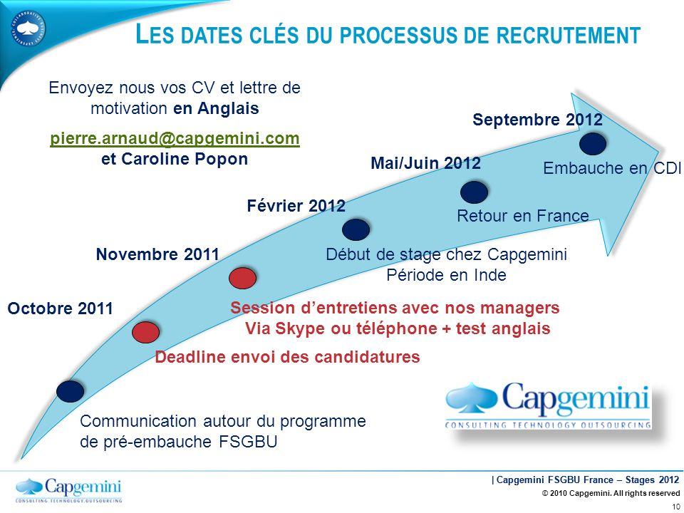 | Capgemini FSGBU France – Stages 2012 L ES DATES CLÉS DU PROCESSUS DE RECRUTEMENT Communication autour du programme de pré-embauche FSGBU Deadline en