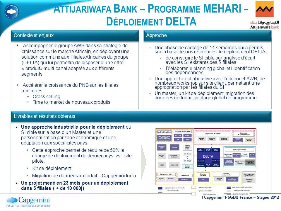 A TTIJARIWAFA B ANK – P ROGRAMME MEHARI – D ÉPLOIEMENT DELTA Une approche industrielle pour le déploiement du SI cible sur la base dun Master et une p