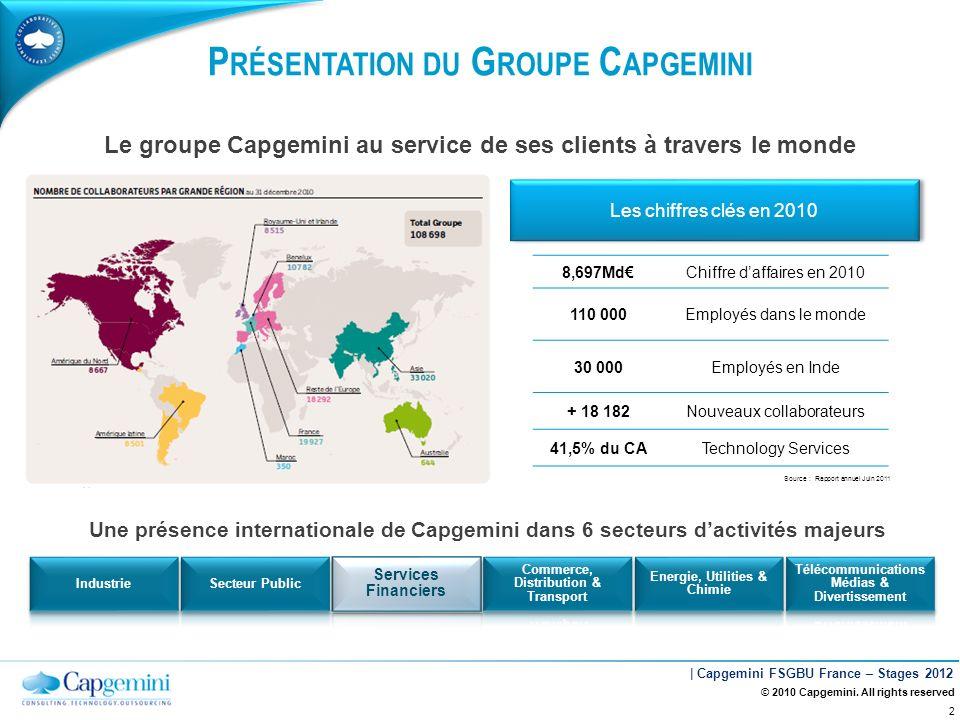 | Capgemini FSGBU France – Stages 2012 P RÉSENTATION DU G ROUPE C APGEMINI 8,697MdChiffre daffaires en 2010 110 000Employés dans le monde 30 000Employ