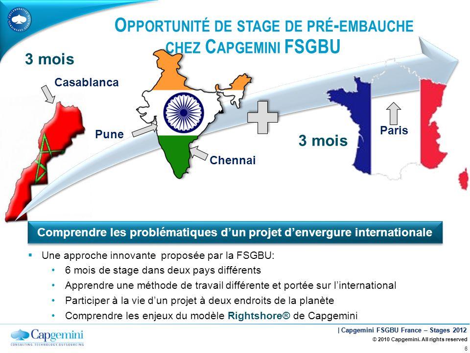 | Capgemini FSGBU France – Stages 2012 O PPORTUNITÉ DE STAGE DE PRÉ - EMBAUCHE CHEZ C APGEMINI FSGBU Pune Chennai Paris 3 mois © 2010 Capgemini. All r