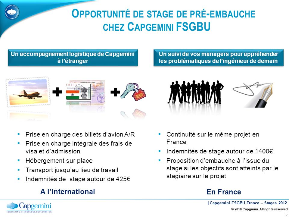 | Capgemini FSGBU France – Stages 2012 © 2010 Capgmini. All rights reserved 7 Un accompagnement logistique de Capgemini à létranger Un suivi de vos ma