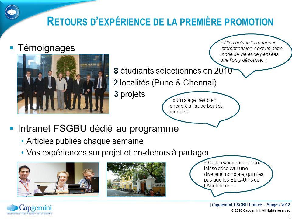 | Capgemini FSGBU France – Stages 2012 Témoignages 8 étudiants sélectionnés en 2010 2 localités (Pune & Chennai) 3 projets Intranet FSGBU dédié au pro