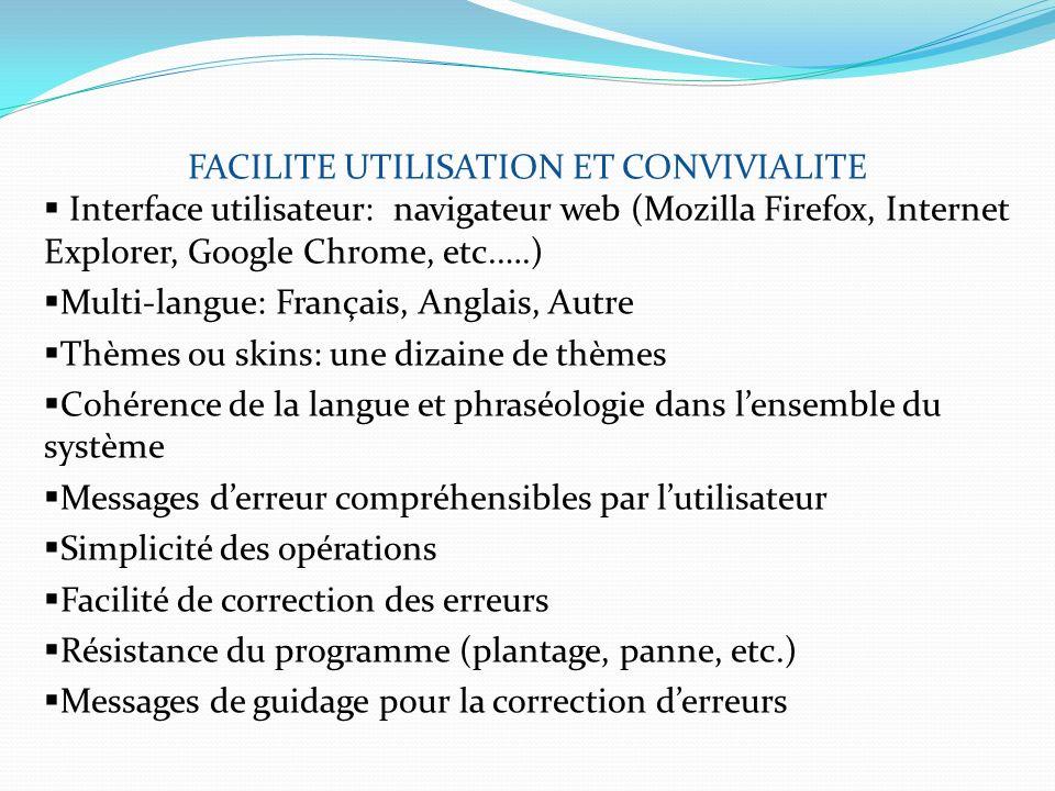 FACILITE UTILISATION ET CONVIVIALITE Interface utilisateur: navigateur web (Mozilla Firefox, Internet Explorer, Google Chrome, etc.….) Multi-langue: F