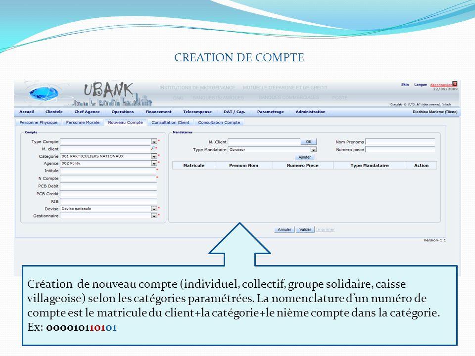 CREATION DE COMPTE Création de nouveau compte (individuel, collectif, groupe solidaire, caisse villageoise) selon les catégories paramétrées. La nomen