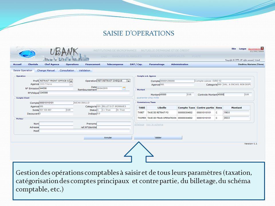 SAISIE DOPERATIONS Gestion des opérations comptables à saisir et de tous leurs paramètres (taxation, catégorisation des comptes principaux et contre p