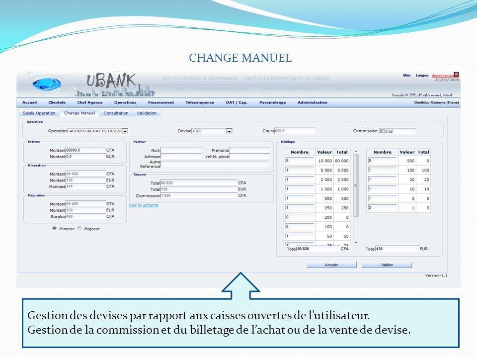 CHANGE MANUEL Gestion des devises par rapport aux caisses ouvertes de lutilisateur. Gestion de la commission et du billetage de lachat ou de la vente