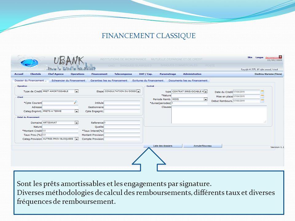 FINANCEMENT CLASSIQUE Sont les prêts amortissables et les engagements par signature. Diverses méthodologies de calcul des remboursements, différents t