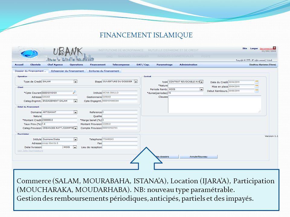 FINANCEMENT ISLAMIQUE Commerce (SALAM, MOURABAHA, ISTANAA), Location (IJARAA), Participation (MOUCHARAKA, MOUDARHABA). NB: nouveau type paramétrable.
