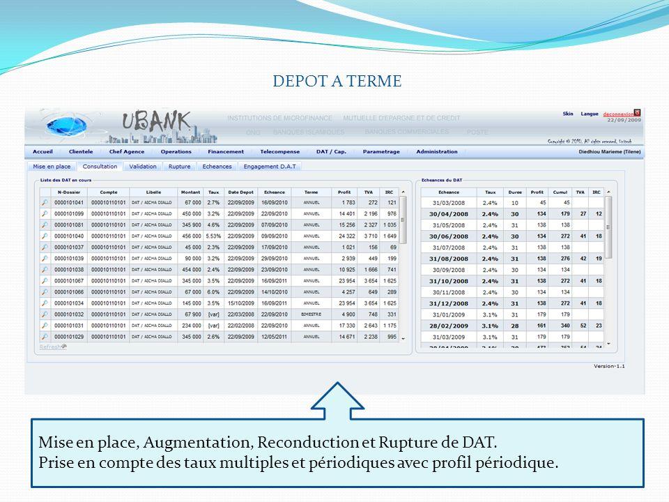 DEPOT A TERME Mise en place, Augmentation, Reconduction et Rupture de DAT. Prise en compte des taux multiples et périodiques avec profil périodique.
