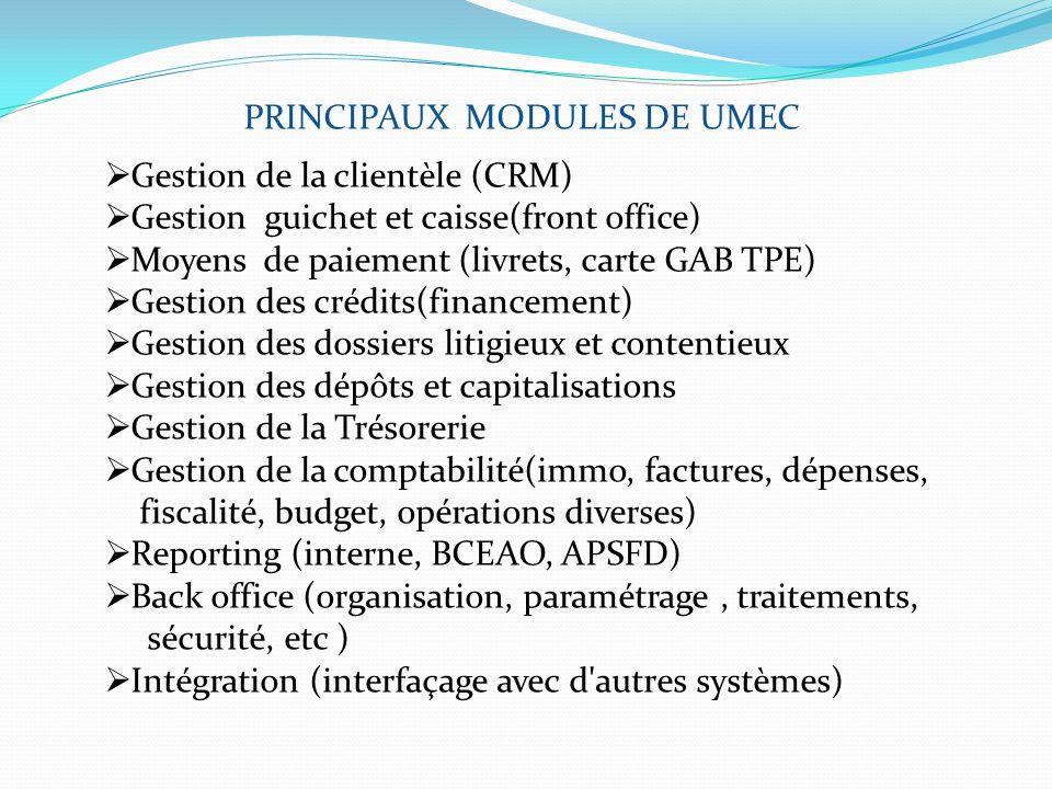 PRINCIPAUX MODULES DE UMEC Gestion de la clientèle (CRM) Gestion guichet et caisse(front office) Moyens de paiement (livrets, carte GAB TPE) Gestion d