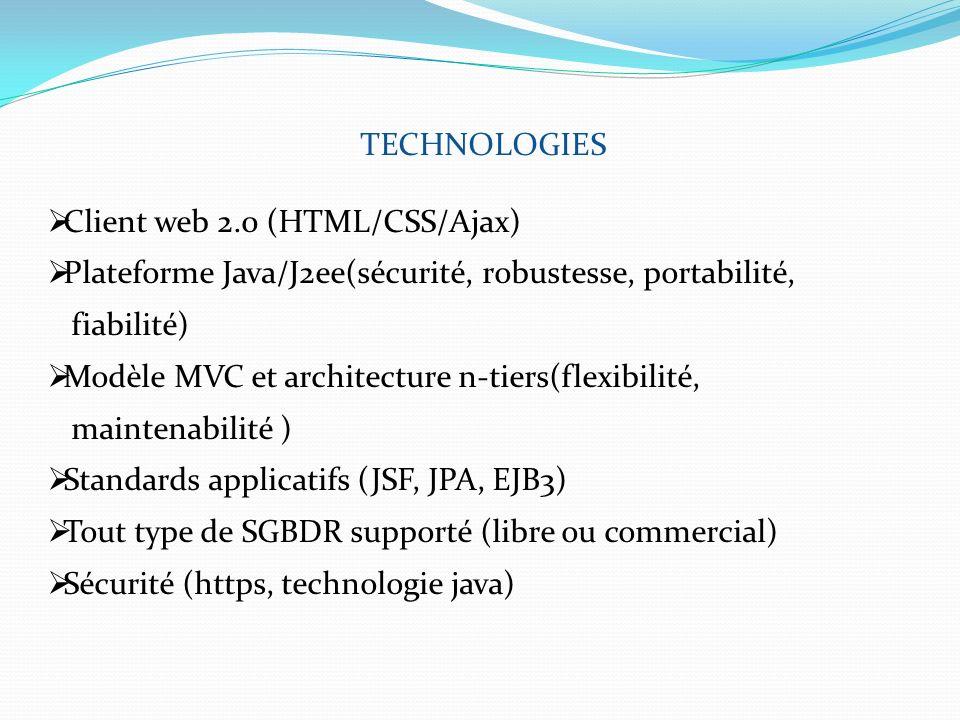 TECHNOLOGIES Client web 2.0 (HTML/CSS/Ajax) Plateforme Java/J2ee(sécurité, robustesse, portabilité, fiabilité) Modèle MVC et architecture n-tiers(flex