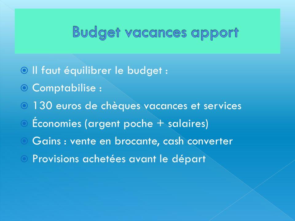 Il faut équilibrer le budget : Comptabilise : 130 euros de chèques vacances et services Économies (argent poche + salaires) Gains : vente en brocante,
