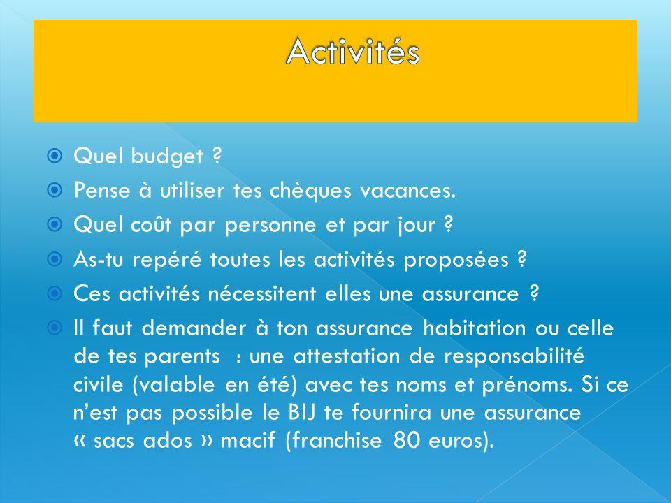 Établis un budget dépenses : Location, transport, sorties, nourriture, achat matériel La nourriture : entre 5 et 10 euros par jour par personne (pense à faire des provisions avant de partir).