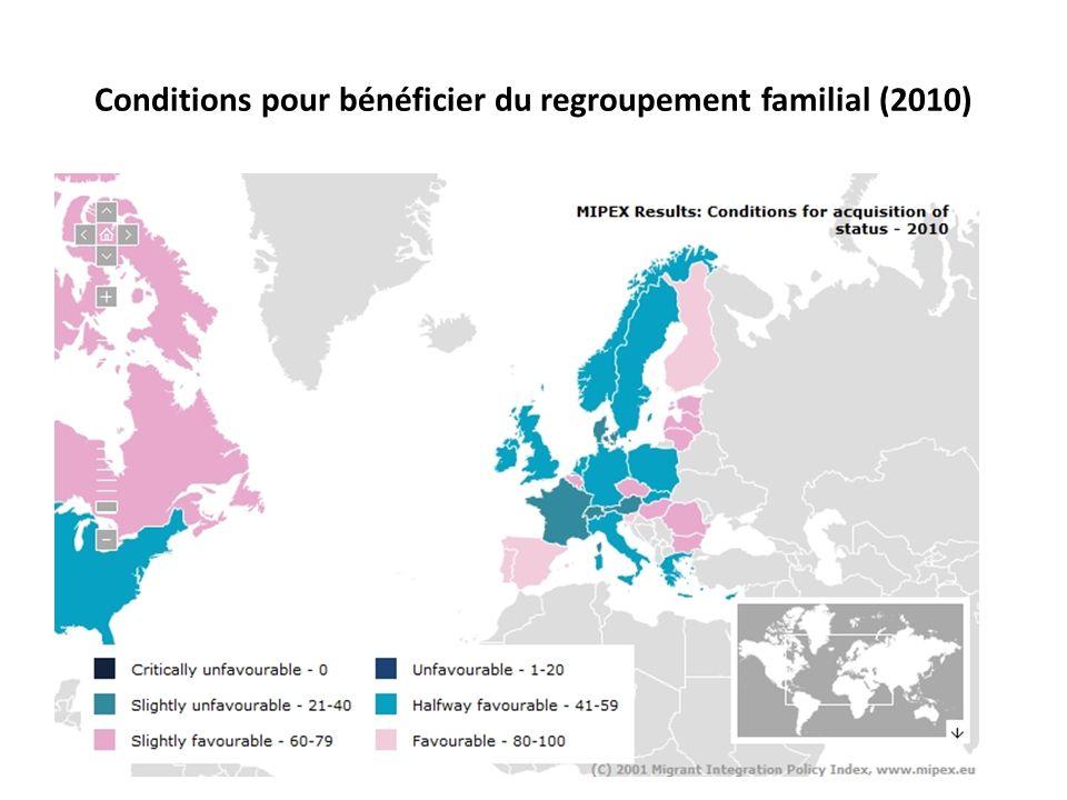 Conditions pour bénéficier du regroupement familial (2010)
