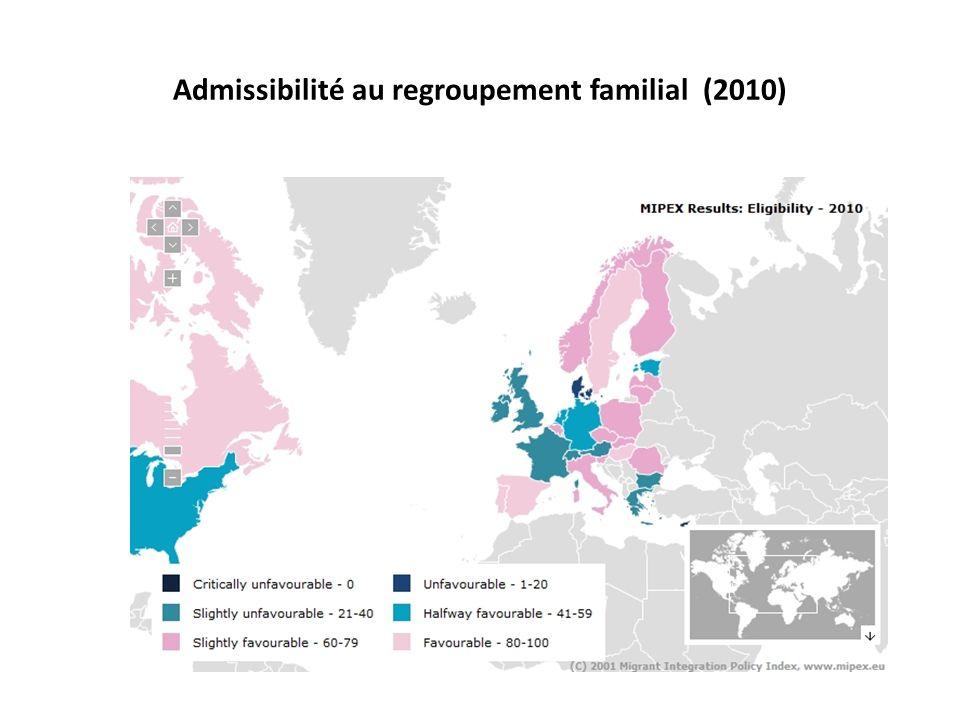 Admissibilité au regroupement familial (2010)