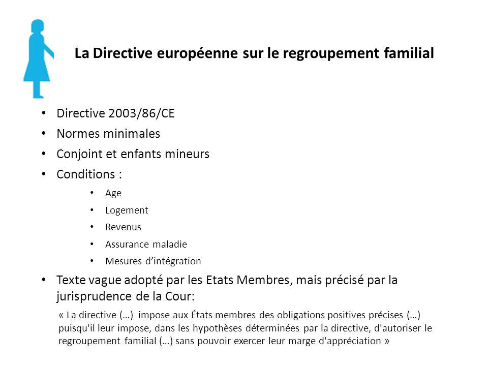 La Directive européenne sur le regroupement familial Directive 2003/86/CE Normes minimales Conjoint et enfants mineurs Conditions : Age Logement Revenus Assurance maladie Mesures dintégration Texte vague adopté par les Etats Membres, mais précisé par la jurisprudence de la Cour: « La directive (…) impose aux États membres des obligations positives précises (…) puisqu il leur impose, dans les hypothèses déterminées par la directive, d autoriser le regroupement familial (…) sans pouvoir exercer leur marge d appréciation »