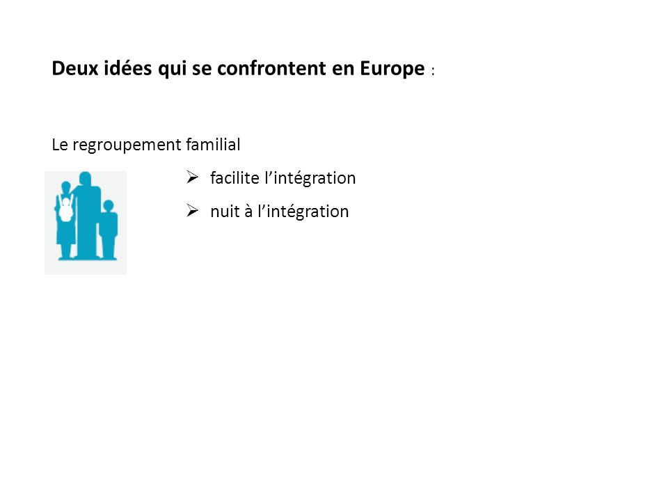 Deux idées qui se confrontent en Europe : Le regroupement familial facilite lintégration nuit à lintégration