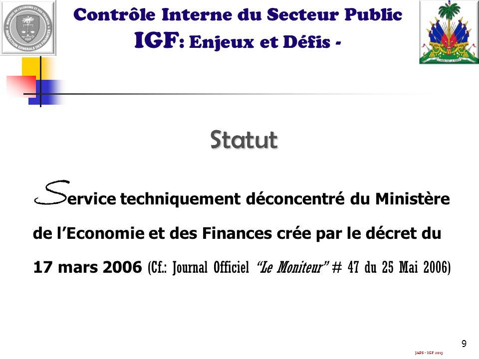 JAPS - IGF 2013 Contrôle Interne du Secteur Public IGF : Enjeux et Défis -Statut S ervice techniquement déconcentré du Ministère de lEconomie et des Finances crée par le décret du 17 mars 2006 (Cf.: Journal Officiel Le Moniteur # 47 du 25 Mai 2006) 9