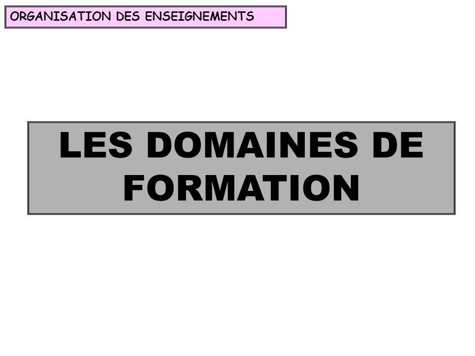 LES DOMAINES DE FORMATION ORGANISATION DES ENSEIGNEMENTS