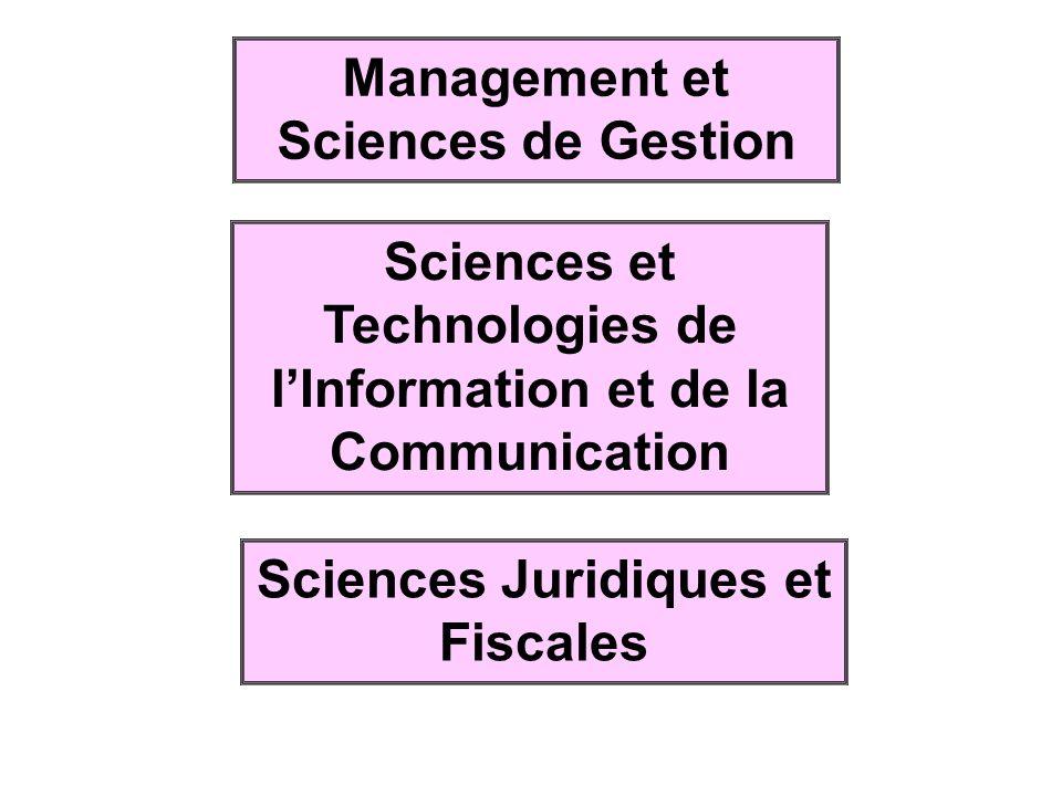 Management et Sciences de Gestion Sciences et Technologies de lInformation et de la Communication Sciences Juridiques et Fiscales