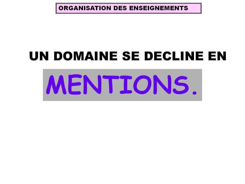 UN DOMAINE SE DECLINE EN MENTIONS. ORGANISATION DES ENSEIGNEMENTS