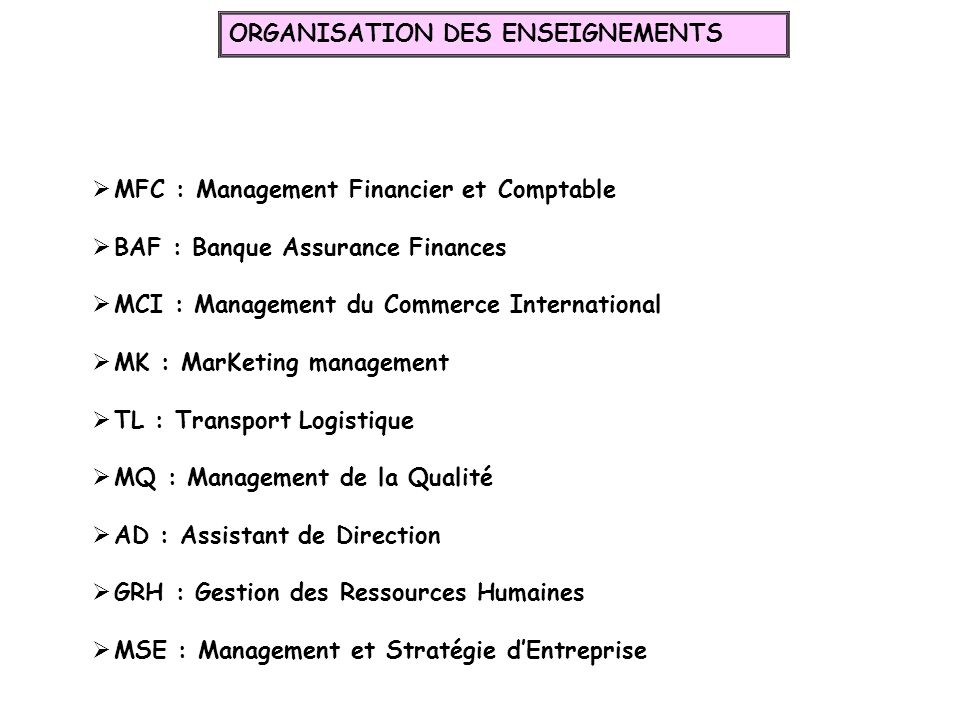 MFC : Management Financier et Comptable BAF : Banque Assurance Finances MCI : Management du Commerce International MK : MarKeting management TL : Tran