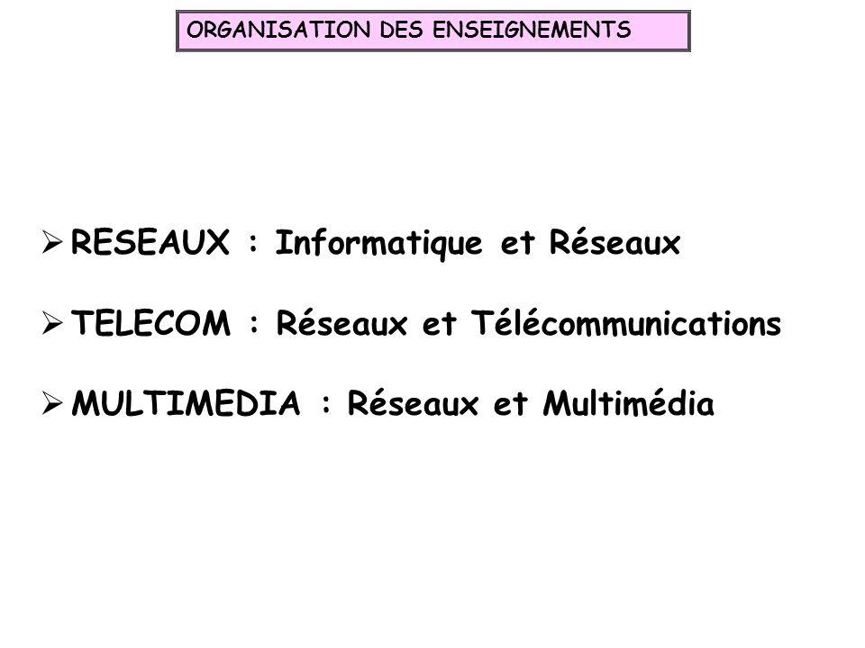 RESEAUX : Informatique et Réseaux TELECOM : Réseaux et Télécommunications MULTIMEDIA : Réseaux et Multimédia ORGANISATION DES ENSEIGNEMENTS