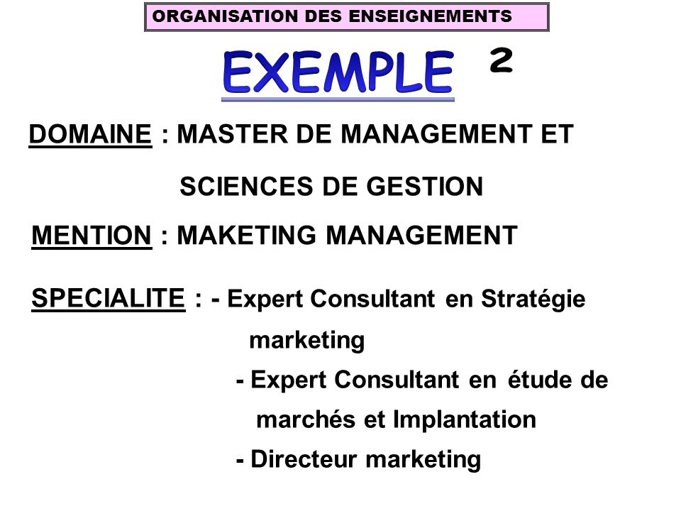 DOMAINE : MASTER DE MANAGEMENT ET SCIENCES DE GESTION MENTION : MAKETING MANAGEMENT SPECIALITE : - Expert Consultant en Stratégie marketing - Expert C