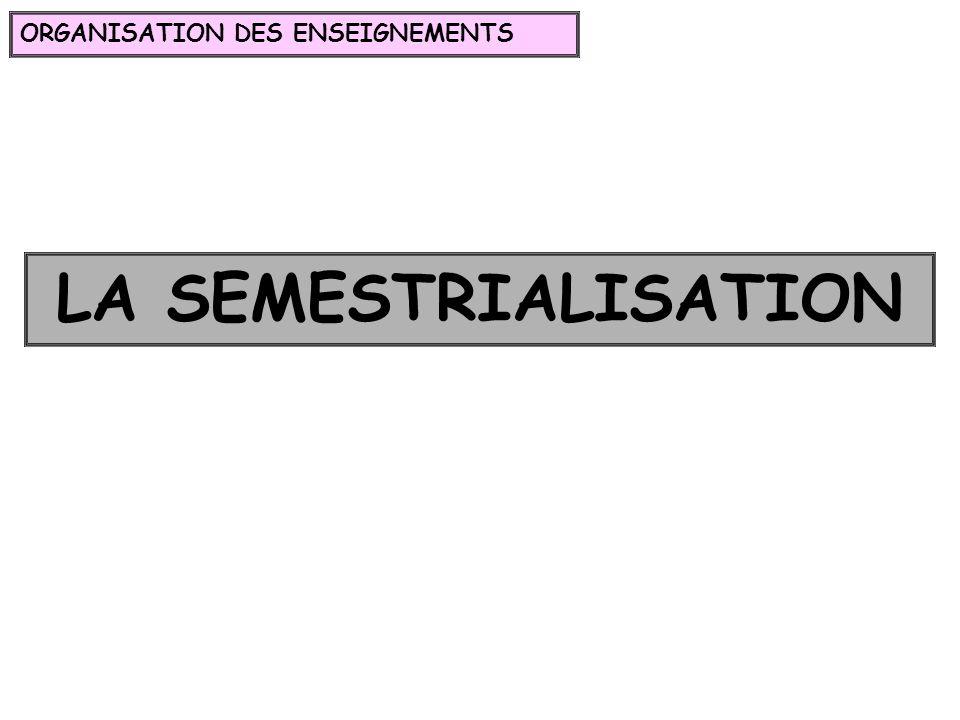 LA SEMESTRIALISATION ORGANISATION DES ENSEIGNEMENTS