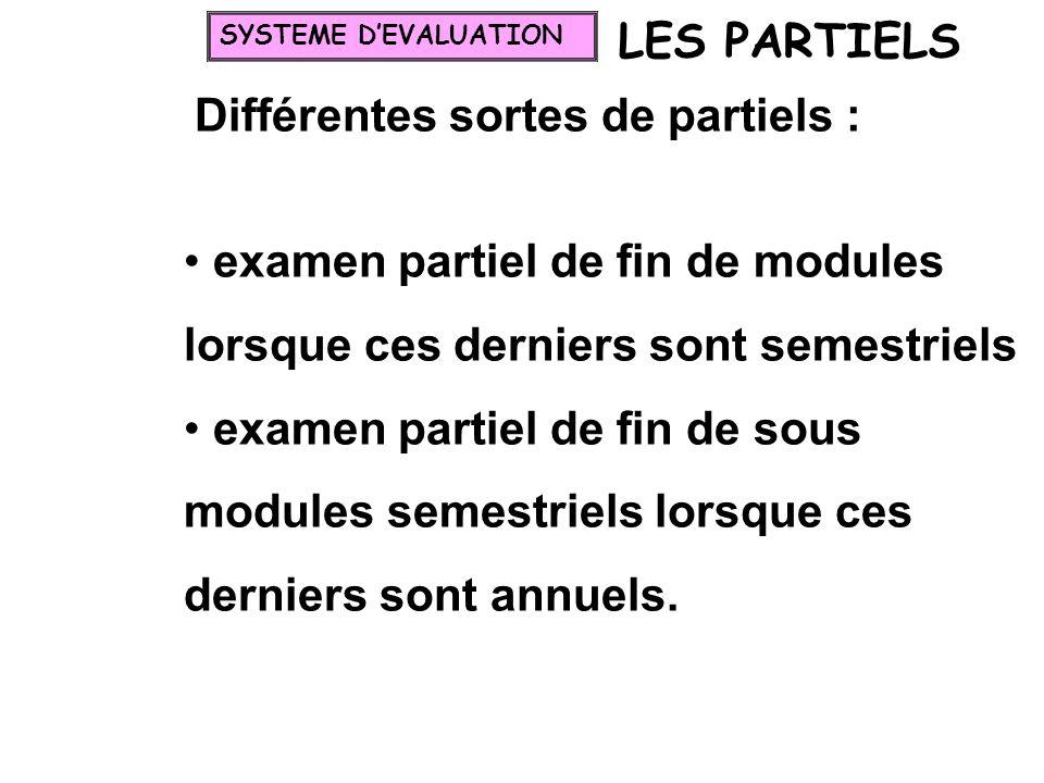 LES PARTIELS Différentes sortes de partiels : examen partiel de fin de modules lorsque ces derniers sont semestriels examen partiel de fin de sous mod