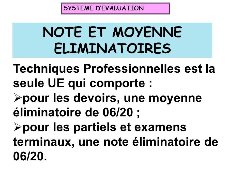 NOTE ET MOYENNE ELIMINATOIRES Techniques Professionnelles est la seule UE qui comporte : pour les devoirs, une moyenne éliminatoire de 06/20 ; pour le