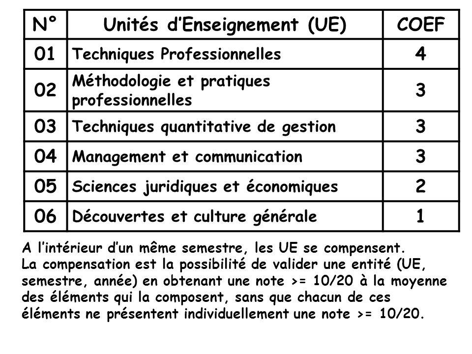 N°Unités dEnseignement (UE)COEF 01 Techniques Professionnelles 4 02 Méthodologie et pratiques professionnelles 3 03 Techniques quantitative de gestion