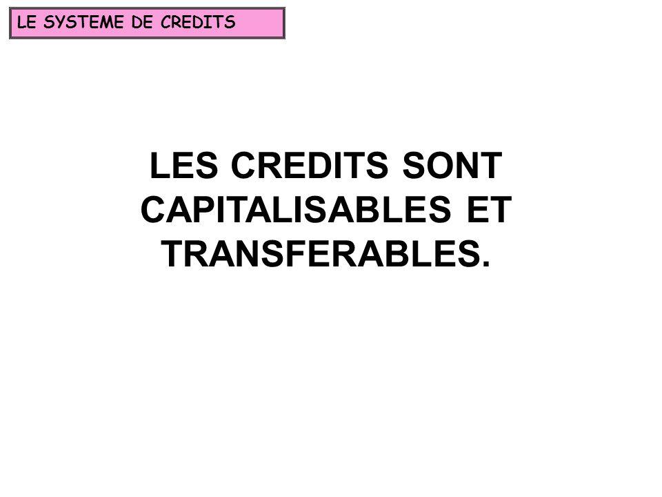 LES CREDITS SONT CAPITALISABLES ET TRANSFERABLES. LE SYSTEME DE CREDITS