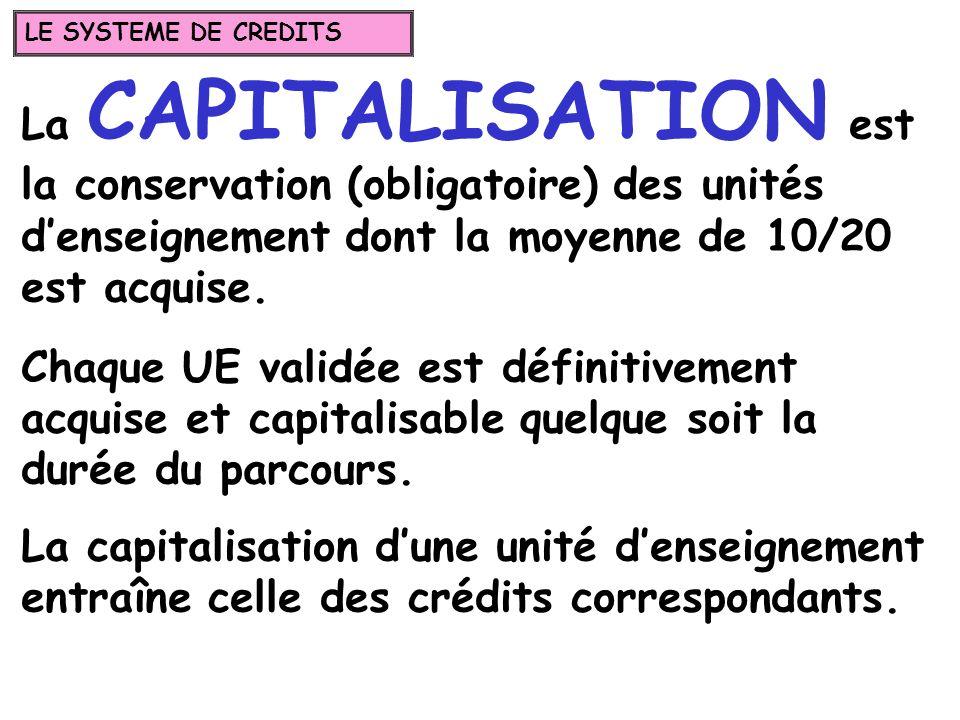 La CAPITALISATION est la conservation (obligatoire) des unités denseignement dont la moyenne de 10/20 est acquise. Chaque UE validée est définitivemen