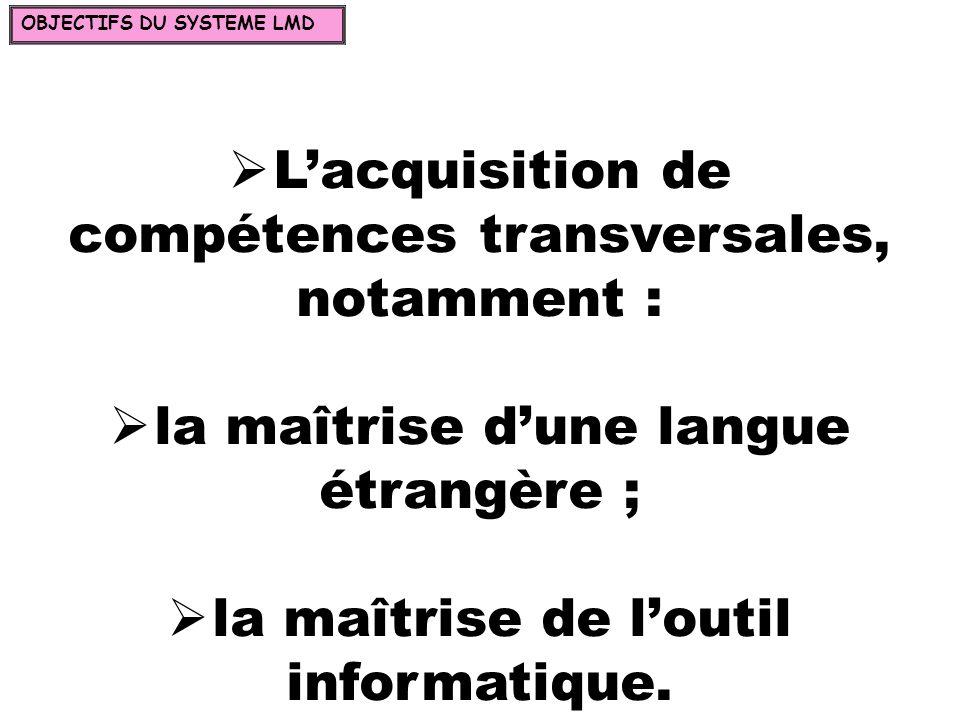 Lacquisition de compétences transversales, notamment : la maîtrise dune langue étrangère ; la maîtrise de loutil informatique. OBJECTIFS DU SYSTEME LM