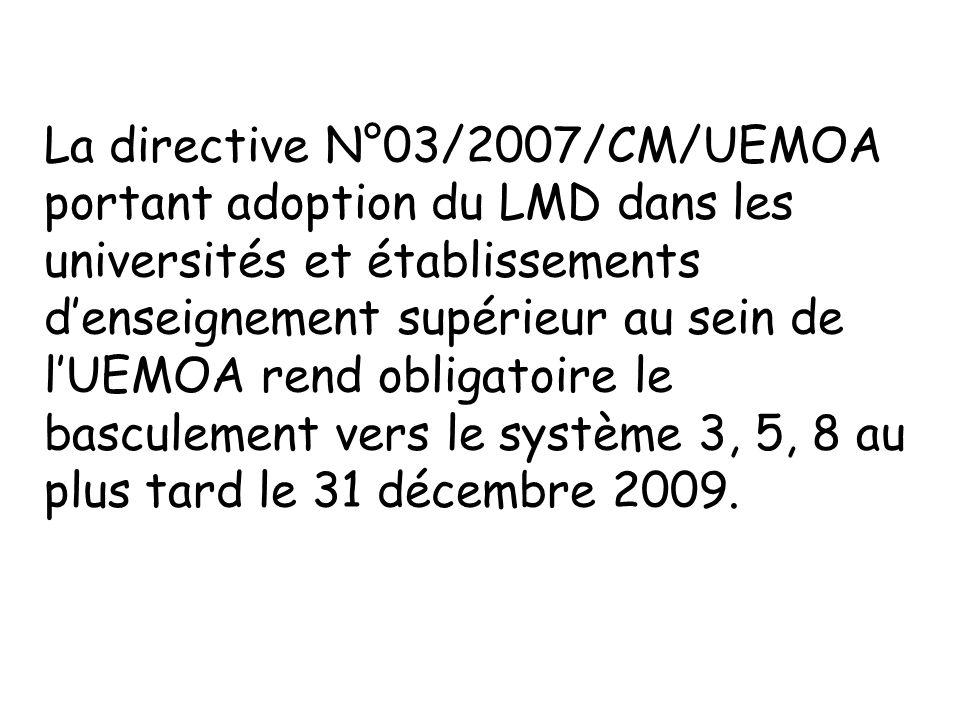 La directive N°03/2007/CM/UEMOA portant adoption du LMD dans les universités et établissements denseignement supérieur au sein de lUEMOA rend obligato
