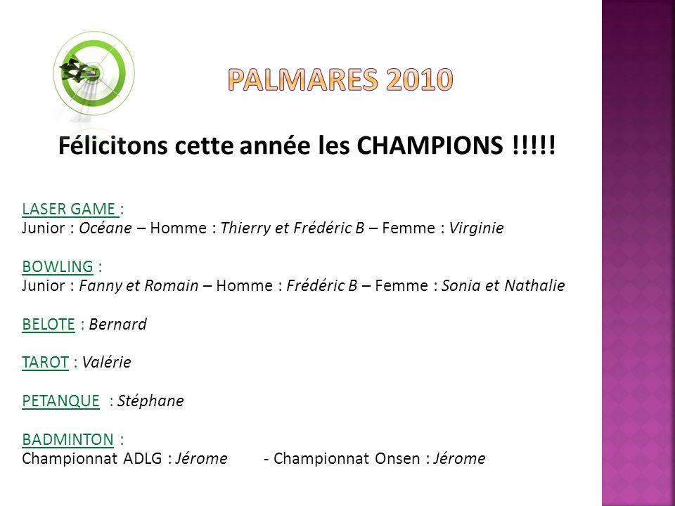 Félicitons cette année les CHAMPIONS !!!!.