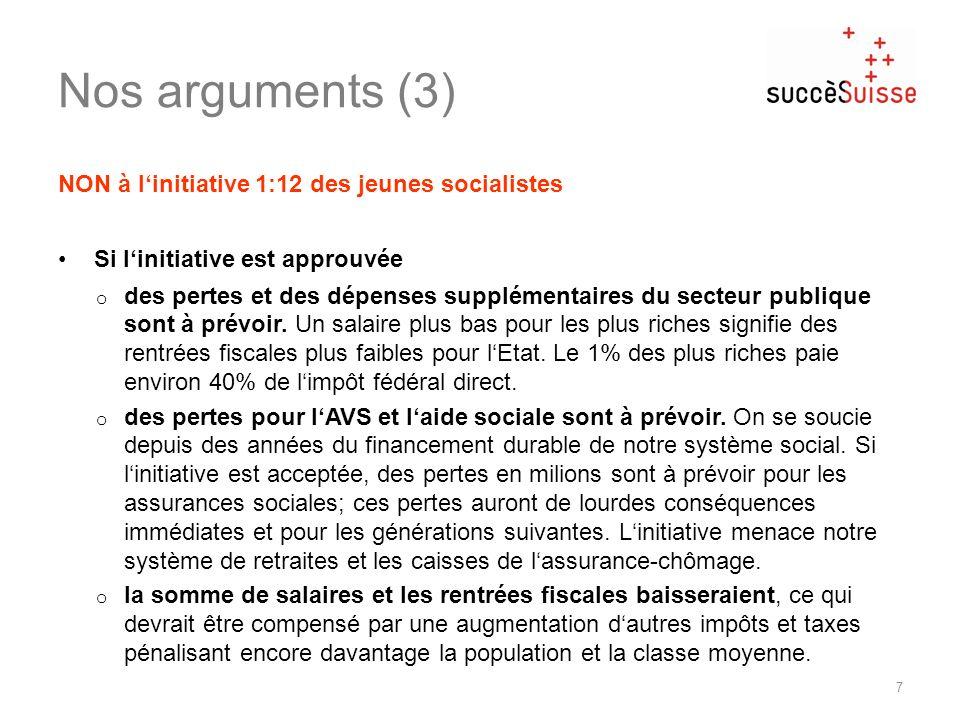 Nos arguments (3) 7 NON à linitiative 1:12 des jeunes socialistes Si linitiative est approuvée o des pertes et des dépenses supplémentaires du secteur