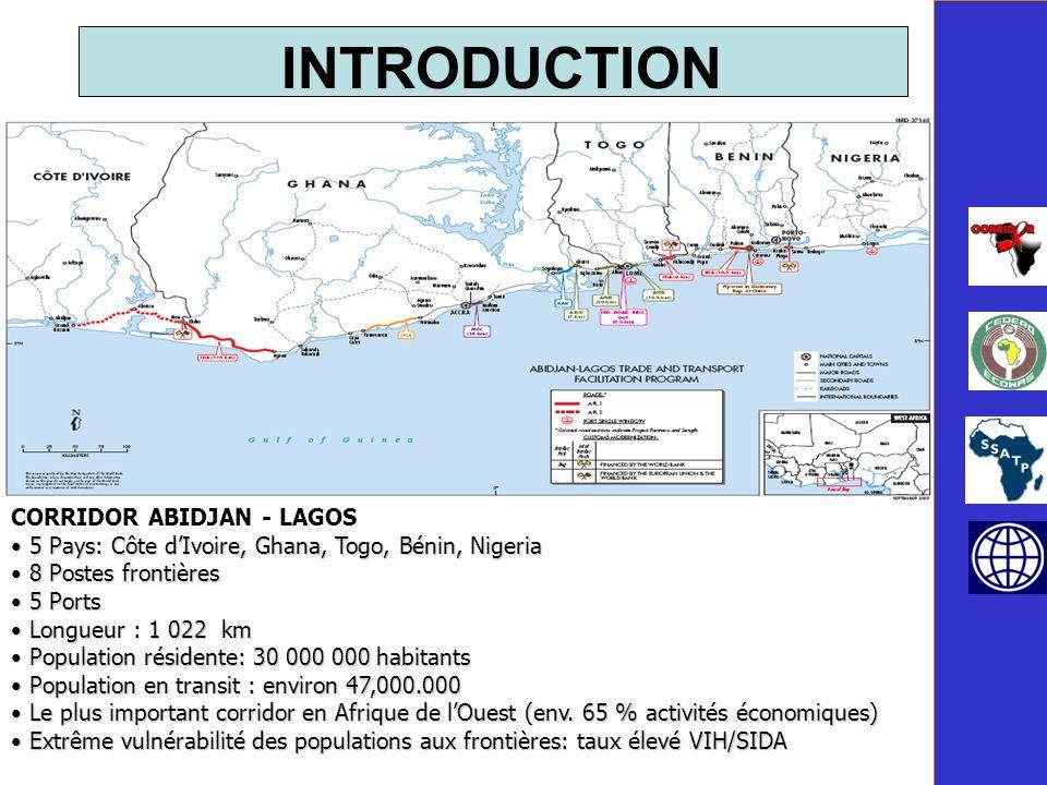 CORRIDOR ABIDJAN - LAGOS 5 Pays: Côte dIvoire, Ghana, Togo, Bénin, Nigeria 5 Pays: Côte dIvoire, Ghana, Togo, Bénin, Nigeria 8 Postes frontières 8 Postes frontières 5 Ports 5 Ports Longueur : 1 022 km Longueur : 1 022 km Population résidente: 30 000 000 habitants Population résidente: 30 000 000 habitants Population en transit : environ 47,000.000 Population en transit : environ 47,000.000 Le plus important corridor en Afrique de lOuest (env.